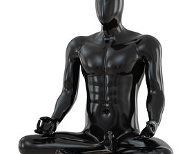Male abstract mannequin sitting in yoga pose 110 3D model