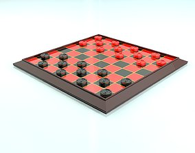 3D model Checkers Board Game
