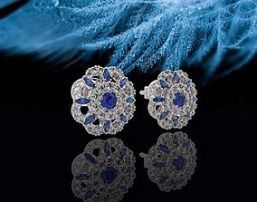 3D print model Classical Blue floral Earring