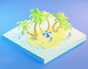 Isometric tropical Island 3D asset
