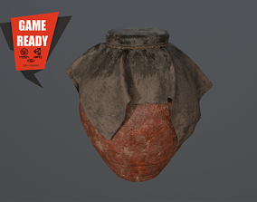 3D asset game-ready Oil Clay Pot