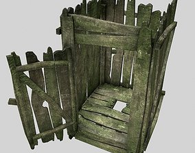 3D model very old outhouse toilet