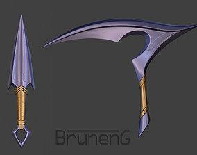 Akali rework weapons kunai and kama 3D print model