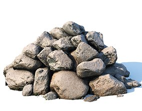 3D Scanned pile of cobblestones under snow