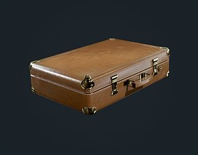 Suitcase Luggage Briefcase Leather Travel Hotel 3D asset 1