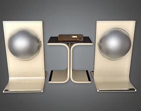 3D Speaker Set Midcentury Collection PBR Game Ready