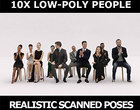 10x LOW POLY ELEGANT CASUAL PEOPLE AUDIENCE VOL01 3D model