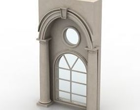 3D model arch window with roman arch and coloum