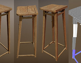 low-poly Photorealistic shabby wooden lowpoly stand 3D