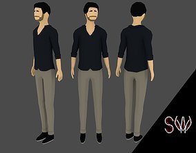 3D asset rigged Low-poly Man Casual Clothes 4