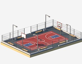 Corton Low Poly Basketball Court 3D asset realtime