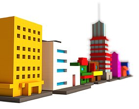 city 3D model Voxel Buildings