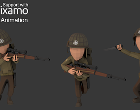 WW2 US Rifleman 3D asset