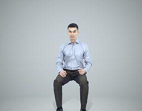 Sitting Business Man Wearing Blue Shirt 3D model