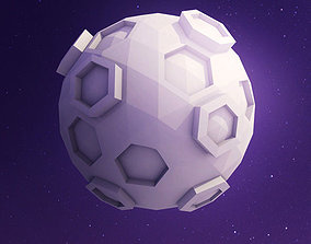 Low Poly Moon 3D asset low-poly