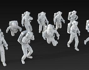 3D model 10 Astronaut Figure Set