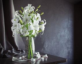 Lily in vase 3D model flower-vase