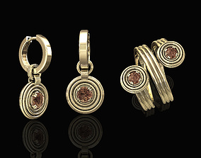 3D Rounds earrings with twist ring