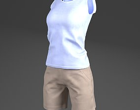 3D asset VR / AR ready Sleeveless Shirts and Short for