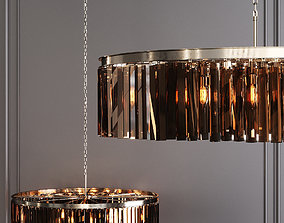 3D RH 1920S ODEON RHYS SMOKE GLASS PRISM ROUND 43 Nickel