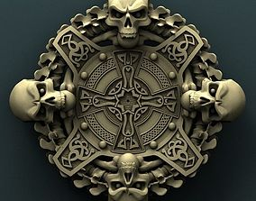 Skull clock 3d stl model for cnc