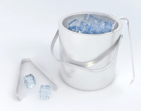 3D model Pack of ice cubes ice bucket and tweezers