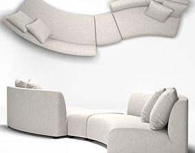 Zoe Modern Classic Curved 2 Sofa 3D