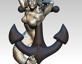 Mermaid Anchor Pendant 3D print model