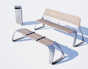 3D model Urban bench set