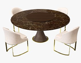 Dining table with marble top and modern chairs with 3D 1
