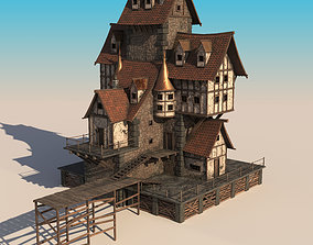 house on the slope 3D asset