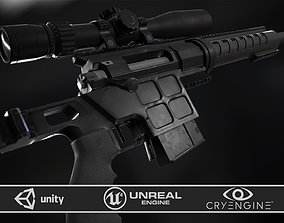 3D model DVL-10 M2 URBANA and March Tactical 3-24x42 FFP
