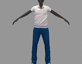 3D model avatar casual set white polo blue pants yelow