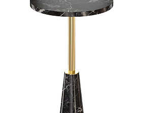 Leni Black Marble Drink Table Crate and Barrel 3D