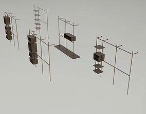 3D asset Modern Open Wardrobe Shelves Collection - 5 Items