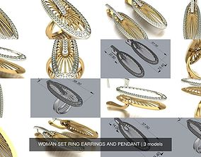 printable 3D model WOMAN SET RING EARRINGS AND PENDANT