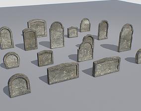 3D asset Gravestones pack 2
