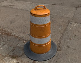 PBR Traffic Drum Low-poly 3D model low-poly