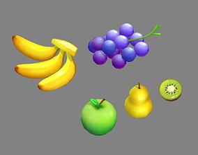Cartoon fruit - banana grape apple pear kiwi 3D model