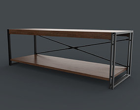 Rack Wooden Black and Brown 3D model interior