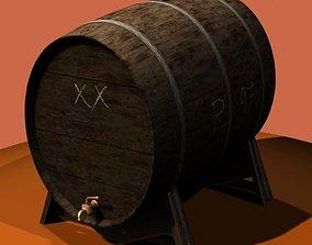 3D Antiquated wine barrel and press