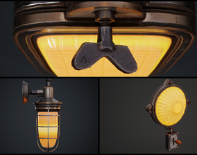 Steampunk wall lamps 3D