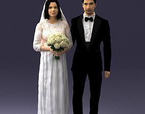 Bride and groom brunettes 0481 3D Print Ready
