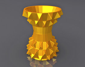 Middle Triangulation Thin Vase Geometric Shape 3D 1