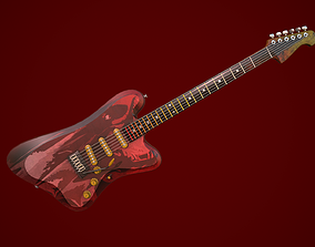Electric guitar 3D model rigged PBR