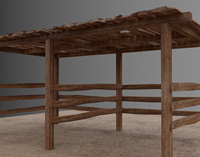 3D asset Small open Wooden shed