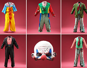 5 Horror Clown Outfits and Mask 3D