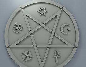Medallion with inverted pentagram and other 3D print model