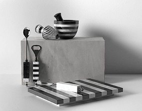 Striped Marble Black and White Tableware 3D