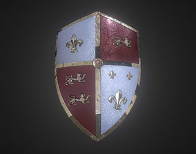 3D model Medieval Royal Crusader Knight Armor Shield